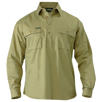 NEW Bisley Shirts  Front Cotton Drill Shirt Khaki - in Khaki - XL - Safety