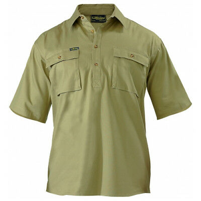 NEW Bisley Shirts  Closed Front Drill Shirt Khaki - in Khaki - Small - Safety