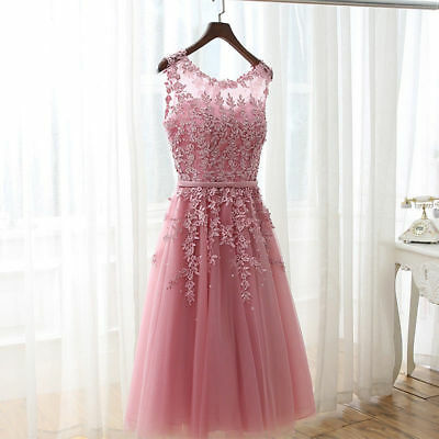 Evening Short Prom Drseses Formal Party Ball Gown Bridesmaid Lace Dress AU STOCK