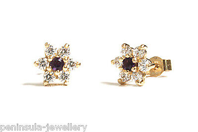 9ct Gold Amethyst Cluster Stud earrings Made in UK Gift boxed Studs