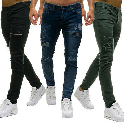 AU Stock Mens Ripped Skinny Jeans Destroyed Frayed Denim Pants Zipper Trousers