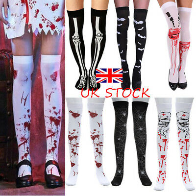 Halloween Womens Over The Knee Thigh High Elastic Socks Fancy Long Stocking UK