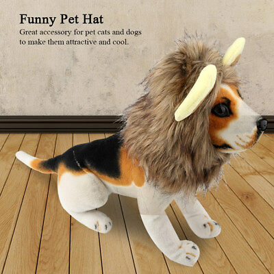 Pet Costume Lion Mane Wig w/ Ears for Cat Dog Halloween Winter Hat Cap Dress Up