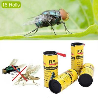 4 rolls Insect Bug Fly Glue Paper Catcher Trap Ribbon Tape Strip Sticky Flies