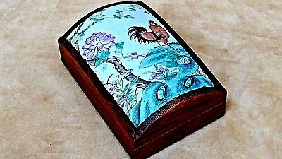 """ANTIQUE 19c CHINESE PORCELAIN&ROSEWOOD  LARGE SHARD BOX W/ ROOSTER 9"""" x6"""""""