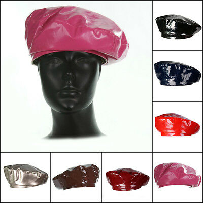 Vintage Women Patent Leather Beanie Beret Military Cap French Flat Hat Faddish