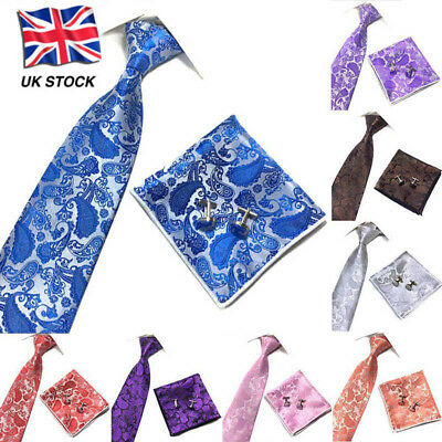 Mens Paisley Jacquard Silk Tie Set Cufflinks and Handkerchief Wedding Gift UK