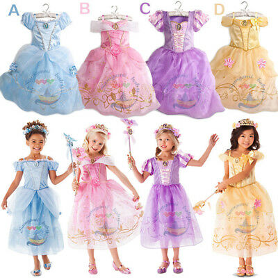 Princess Belle Cinderella Dress Up Girls Kids Party Fancy Dress Costume Cosplay
