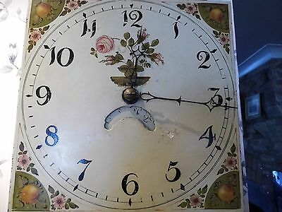 Antique Longcase clock , 30hr movement , Hand painted face rose & orange design