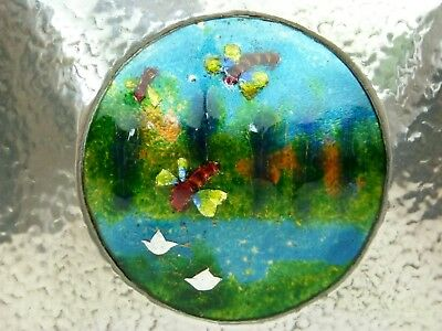 A Very Rare Liberty & Co Tudric Pewter Jewelry Box w/ Impressionist Style Enamel
