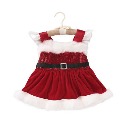 Newborn Baby Girls Christmas Sequin Party Fluffy Sleeveless Romper Tutu Dress AU