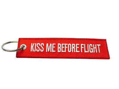 Kiss Me Before Flight Bordado Llavero/Etiqueta de Equipaje