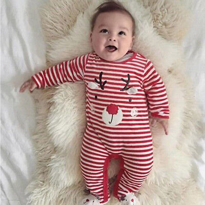 Christmas Baby Boys Girls Newborn Romper Jumpsuit Cotton Bodysuit Outfit Clothes