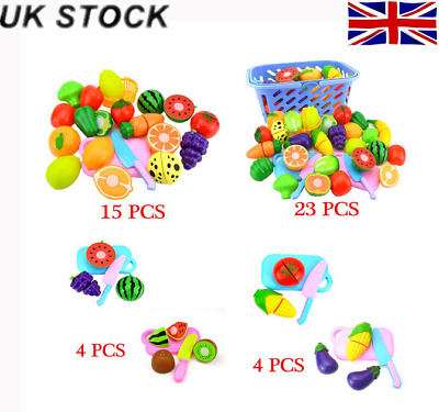 NEW Fruits and Vegetables Role Play for Kids Pretend Cutting Sets Toys 4/6/8/12