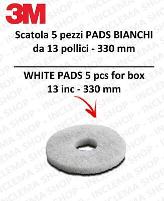 PAD 3M 5 pieces Bianco from 13 inch  330 mm for scrubber dryer e single disc