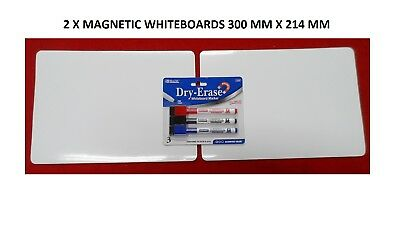 2x FLEXIBLE WHITEBOARD GLOSS MAGNETIC SHEET 300MM X 214MM (A4)& PENS, FREE POST