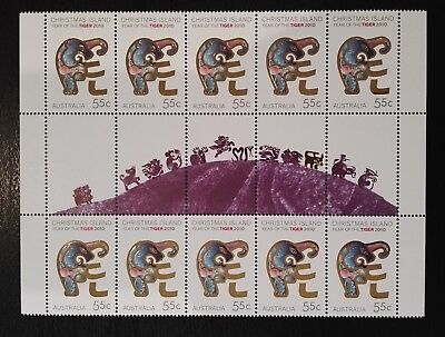 2010 Christmas Island Stamps - Year of the Tiger - Gutter Strip - MNH