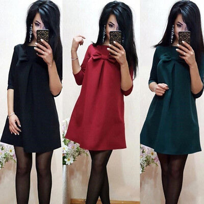 Women Bow Seven Points Girls Sleeve Plain Dress Elegant Summer Dress 6A