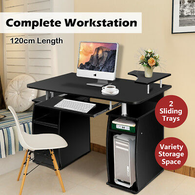 Computer Desk Office Work Station Study Table Storage PC Stand Raised Shelf Home