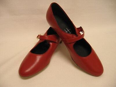 "TicTacToes Dance Shoes SIZE 8 1/2 N  RED ""Robin"" 1 1/4"" Heel   BRAND NEW"