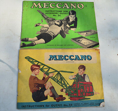Vintage Meccano Instructions x 2 for No.3a & 7/8, Leaflet Booklet, Manuals