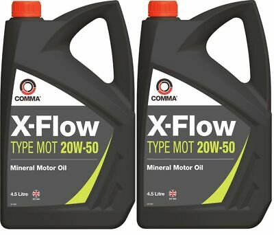 New Comma X-FLOW TYPE MOT 20W-50 Mineral Motor Oil - 4.5 Litres X 2      XFMOT1G