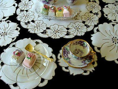 BEAUTIFUL 13pc Vtg MADEIRA Linen Placemats Tea Dessert Hand Embroidered PRISTINE