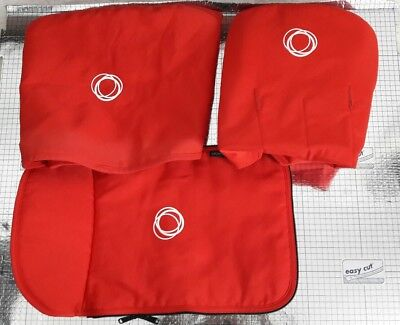 bugaboo cameleon 1&2 canvas Red set hood , apron and seat liner #####