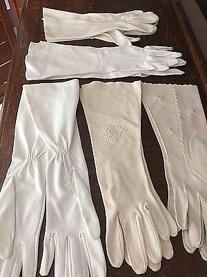 Vintage Lot Women's Gloves 5 Pairs Some Long As Found Some May Need Cleaning