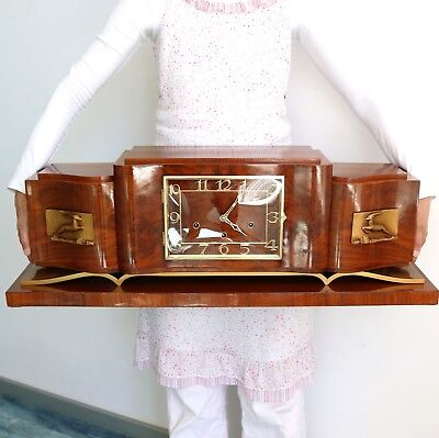 KIENINGER Westminster Mantel Clock Art Deco HIGH GLOSS! Antique FULLY RESTORED!!