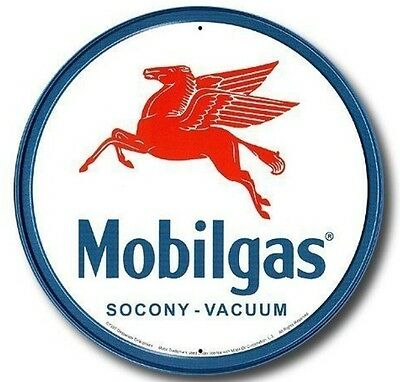 Mobilgas Pegasus Mobil Gas Gasoline Station Round Vintage Metal Tin Sign
