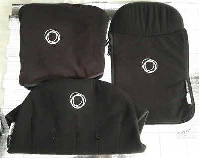 bugaboo cameleon 1&2 fleece Black set hood , apron and seat liner###""""""