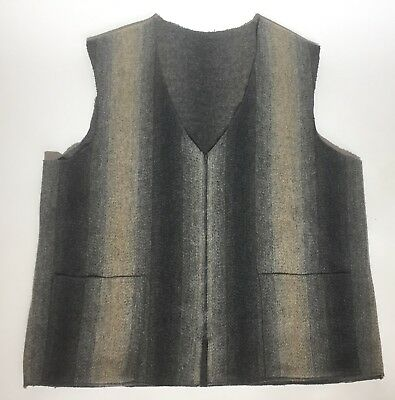 Men's Handmade Wool Gray Stripe Long Zip Up Western Vest w/ Pockets - L