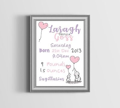Personalised Baby Picture Newborn Details Boy Girl Christening Birthday Nursery