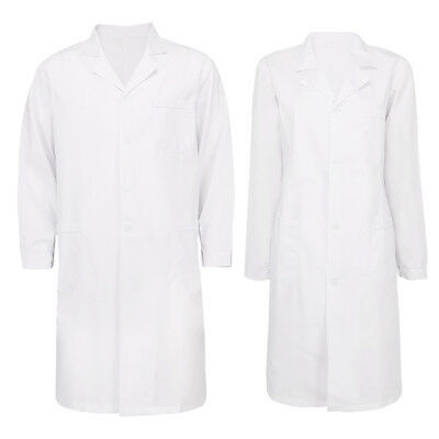 Mens Womens Long Sleeve Uniform Lab Coats Medical Doctor Nurse White Long Jacket