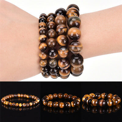 Natural Tiger Eye Stone Lucky Bless Beads Men Woman Jewelry Bracelet Bangle A Fz