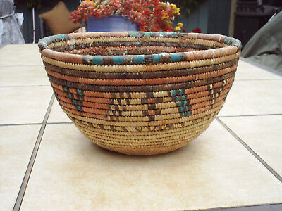 Southwest Coiled Grass Woven Basket