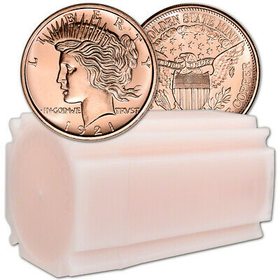 1 oz. Golden State Mint Copper Round Peace Dollar .999 Fine Tube of 20