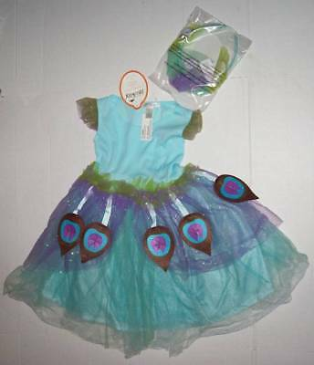 POTTERY BARN KIDS PBK PEACOCK FAIRY COSTUME Dress & Headband 3T Halloween NWT