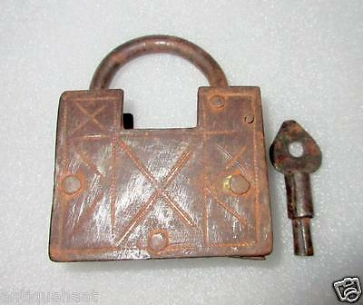 Antique Old Rare Hand Made Or Work Solid Iron Screw System Key Pad Lock India