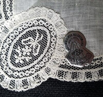 A12 Vintage Chemical Lace Linen Hanky Hankies Wedding Bridal Floral Flower Bow