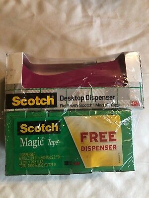 """Scotch Dispenser"" (Pink) + 6 Rolls Magic Tape + Bonus"