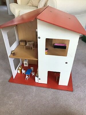 Vintage Wooden Dolls House With Furniture