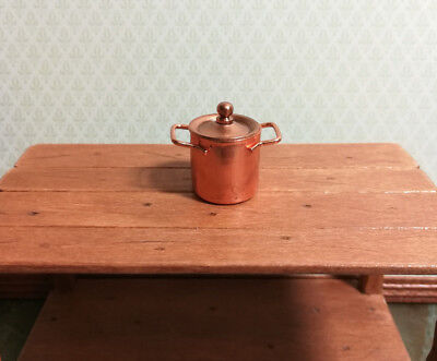 Dollhouse Miniature Large Copper Stock Soup Pot with Removable Lid 1:12 Scale