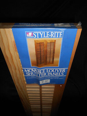 """Interior Wood Louvered Shutters Set Unfinished 8"""" x 32"""" Joanna Western Mills new"""