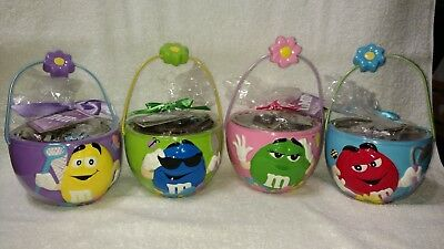 M&M's Set Of 4 Ceramic Easter Bowls With Flower On Handle