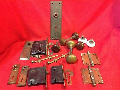 Large Lot Antique Door Hardware Latches locks knobs back plates hinges brass