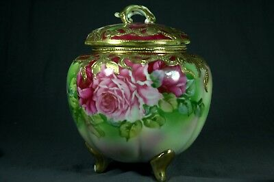 Antique Nippon Footed Porcelain Biscuit Cracker Jar Pink Floral Gold Moriage