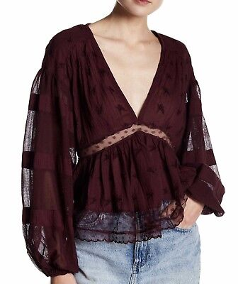 4df6ebcb9ed5e FREE PEOPLE Eggplant PEASANT TOP BOHO FESTIVAL Medium With Lace Details