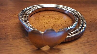 Vintage Metal Stretch Belt Silver With Hearts